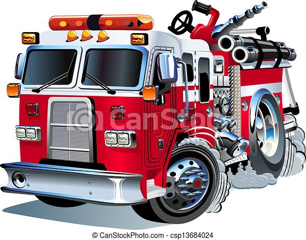 vektor, firetruck, karikatura - csp13684024