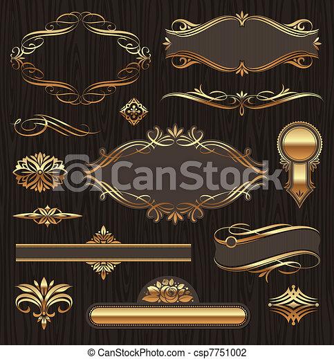 vektor, zlatý, ozdobený, sluha standarta, grafické pozadí, dát, ponurý, nastrojit co na koho, charakter, dřevo, deviders, výprava, ozdoby, elements: - csp7751002