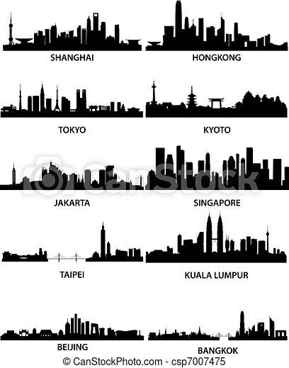 velkoměsto, městské siluety, asijský - csp7007475