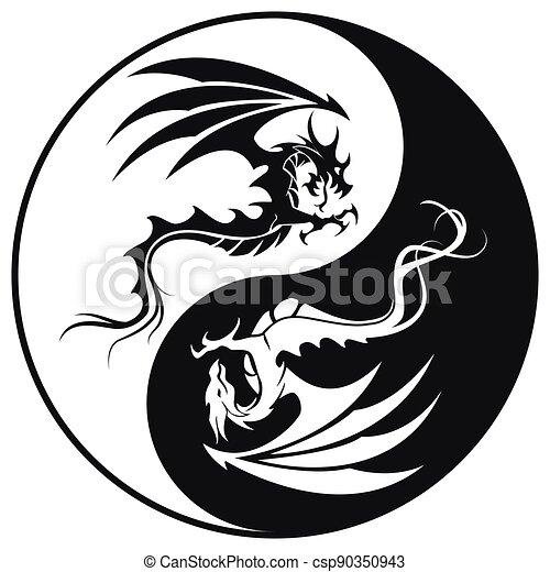 yin, ilustrace, znak, kruh, -, čepobití, čerň, yang, drak, drak, vektor, neposkvrněný - csp90350943