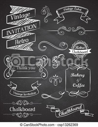 základy, vinobraní, rukopis, vektor, tabule, nahý - csp13262369
