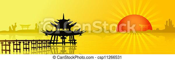 západ slunce, asie - csp11266531