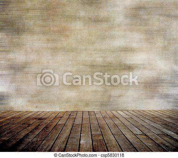 Zeď a dřevěná podlaha - csp5830118